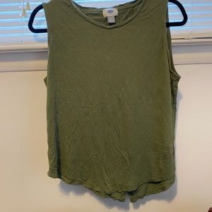 Green muscle tank top with open back